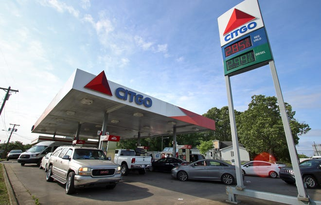 Cars line up for fuel Tuesday morning, May 11, 2021, at the Citgo on South Lafayette Street in Shelby as many gas stations are closing due to the gasoline shortage.
