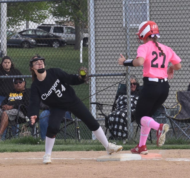 Second baseman Hannah Swope, left, covers first base on a bunt and takes the throw from pitcher Jenna Drish for an out during the top of the first inning on Thursday, May 6, with Fulton.