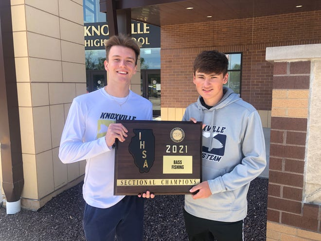 Maddox Nichols, left, and Titus Cramer will represent Knoxville High School's bass fishing team at the state tourney next weekend.