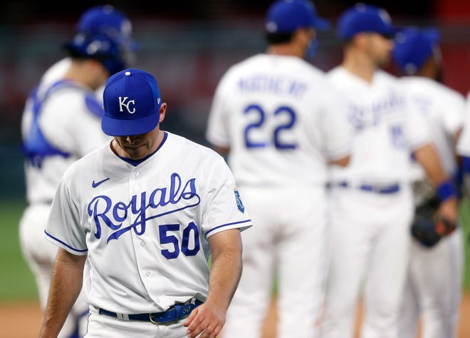 Kris Bubic (50) of the Kansas City Royals walks off the mound after being pulled during a game against the Chicago White Sox at Kauffman Stadium on Saturday, May 8, 2021 in Kansas City, Missouri. [Jamie Squire/Getty Images/TNS]