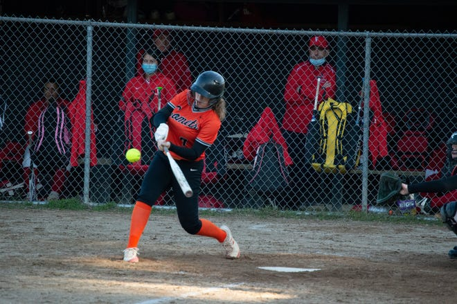 Jonesville Senior Kenna Gilbert looks to get a base hit in game 2