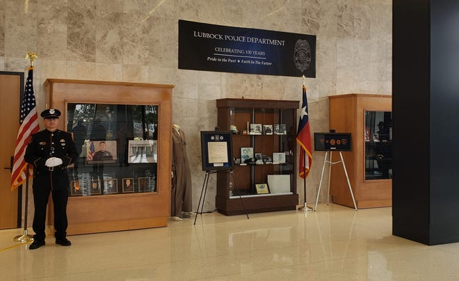 Lubbock police artifacts, photos and documents were on display Tuesday at the lobby of Citizens Tower as part of the 100-year anniversary of the Lubbock Police Department.