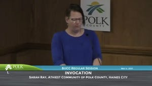"""Sarah Ray, leader of the Atheist Community of Polk County, led the invocation during the May 4 Polk County Commission meeting. Once she sat down, County Commission Chairman Rick Wilson led his own prayer, an action a national group calls """"unconstitutional."""""""