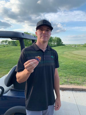 Shown is Basehor-Linwood senior Joey Langstraat following his first-place finish at the United Kansas Conference men's golf championship at Shiloh Springs Golf Club in Platte City, Missouri.