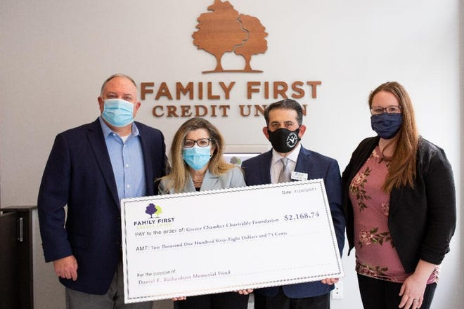 Family First Federal Credit Union donates $2,168.74 to the Greece Chamber Charitable Foundation's Daniel E. Richardson Memorial Fund to support nursing education scholarships after a recent fundraiser. Pictured, from left, are Tom Dambra, Family First president and CEO; Sarah Lentini, Chamber president and CEO; Michael Mordenga, Foundation president; and Savannah Wallenhorst, Greece Branch manager.
