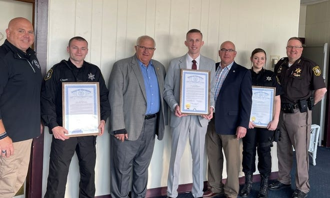 Lawmakers honored the 2020 Monroe County Officers of the Year at an event this week. Pictured are (left to right) State Rep. TC Clements, Deputy Ken Dodds, Sen. Dale Zorn, Detective Mike Swiercz, Rep. Joe Bellino, Corrections Officer Katie Caswell and Monroe County Sheriff Troy Goodnough.