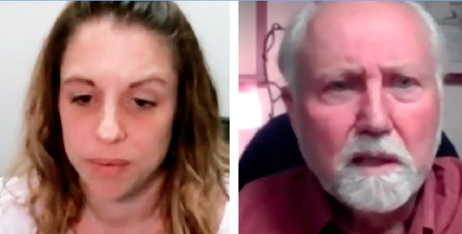 Screenshots of Mount Shasta City Councilors Tessa Montgomery and Tim Stearns, taken from the recording of the April 26, 2021 council meeting, during which a censure was approved 2-3, reprimanding Stearns for behavior that staff members say is bullying.