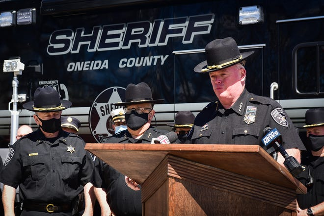 Oneida County Sherriff Robert Maciol, right, speaks during a dedication ceremony outside the Oneida County Sheriff's Department on Tuesday, May 11, 2021.