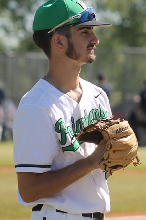 Van Buren junior Devin Gattis waits for the start of the pre-game warm-up against Bentonville West on May 5, 2021, at the Field of Dreams.