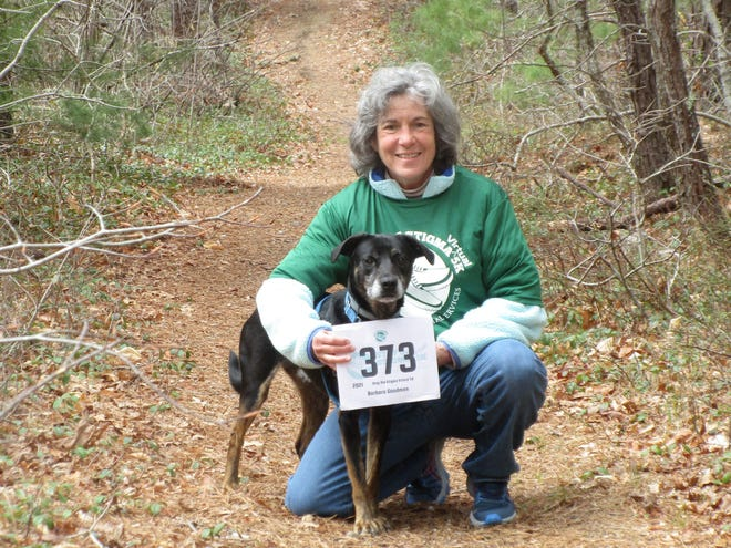 Interfaith Social Services' New Directions Counseling Center therapist Barbara Goodman took part in the 2021 Stop the Stigma Virtual 5K with her dog.
