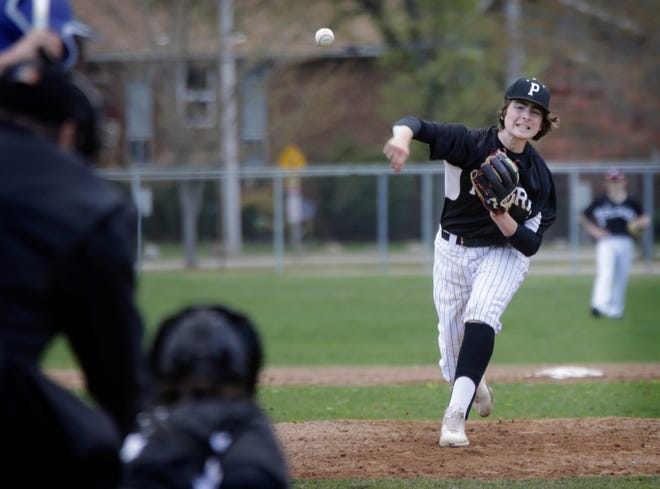 The Pilgrim baseball team plays at Portsmouth in a D-I quarterfinal today at 4 p.m.
