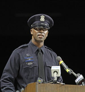 Flavio Tavares, class leader of the 68th Providence Police Department Training Academy, speaks at the class ceremony in 2017.