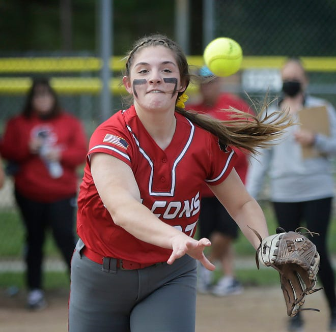 Softball pitchers, like most spring high school athletes, don't have to wear masks while playing.