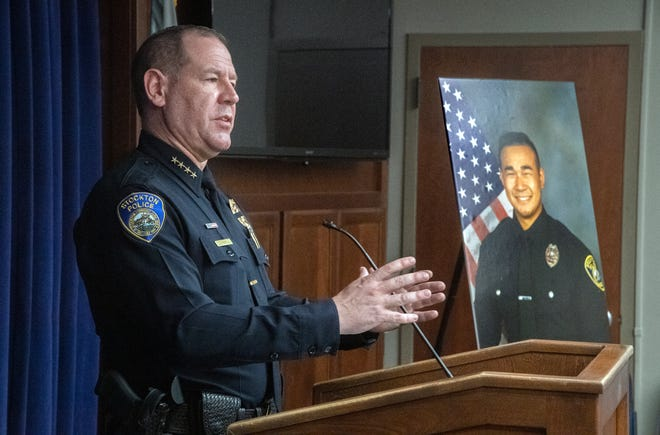 Stockton Police Chief Eric Jones speaks at a news conference after Officer Jimmy Inn was shot and killed in the line of duty while on a domestic abuse call on Tuesday. The suspect was also shot and killed during the call.