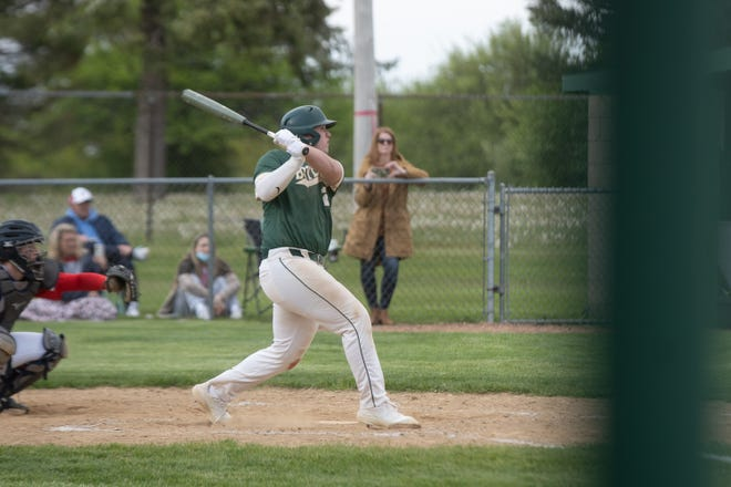 Nick Fehrle, shown hitting a leadoff double in the fourth inning, reached base all four times he came to bat in Boylan's walk-off 5-4 victory over Belvidere North on Monday. The win created a three-way tie for the NIC-10 lead at 8-1 between Boylan, North and Hononegah.