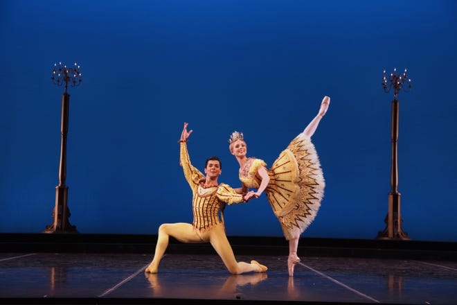"""Ricardo Graziano and Victoria Hulland in a scene from Sir Frederick Ashton's """"Birthday Offering"""" presented in a digital program by The Sarasota Ballet."""