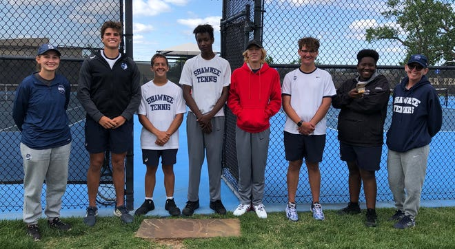 The Shawnee High School boys' tennis team qualified for state after posting two third-place finishes and two fourth-place efforts at regionals Monday. Pictured left to right are assistant coach Christine Hashberger, Will Stewart, Hyrum Miner, Kelon Chandler, Aidan Grein, Payton Greenwood, Dymire James and coach Dacia Jordan.