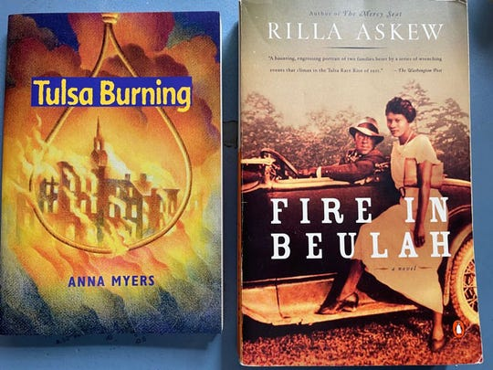 """Anna Myers in """"Tulsa Burning"""" and Rilla Askew in """"Fire in Beulah"""" use their creative imaginations to build on the facts of the Tulsa Race Massacre."""