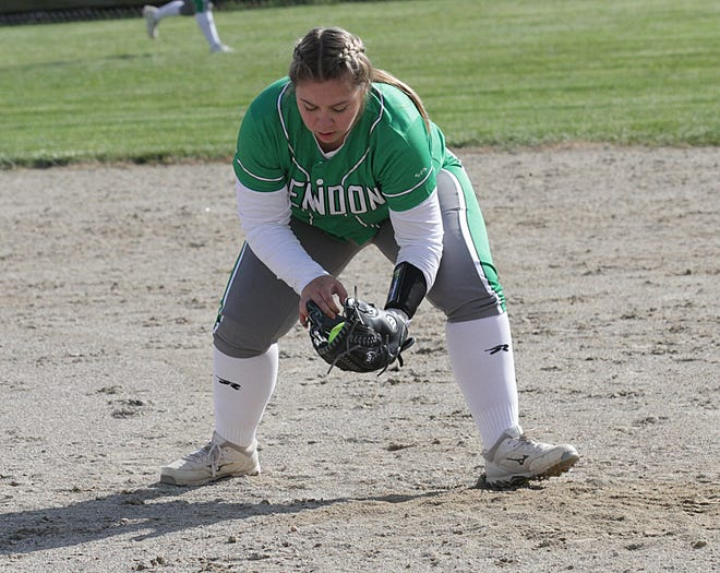 Mendon first baseman Bailey Lash corrals a ground ball before recording an out against Bangor on Monday.
