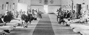 Civil War hospital ward.