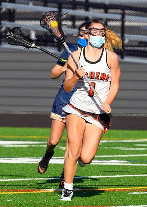 Middleboro's Leah Stearns leads the offensive attack during their season=-opener against East Bridgewater last Thursday. East Bridgewater took the win, 10-7.