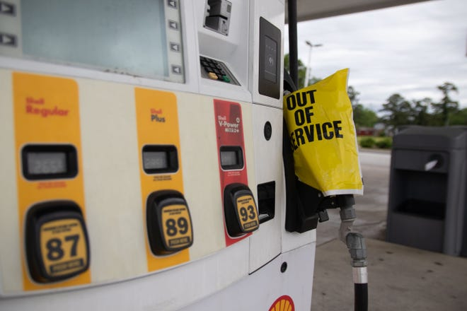 Numerous gas stations in the New Bern area were out of gas Tuesday while others featured long lines at the pumps.