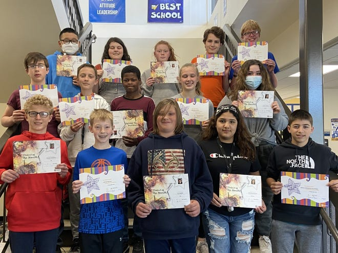 Simmons Middle School seventh-graders who are April students of the month are, back row, from left, Heegeong Song, Kamryn Warrey, Eve Borchard, Louis Manhart, Levi Atkins, middle row, August Bobby, Alex Tarver, Daviour Williams, Breckan Santjer, Jillian Harmel, front row, Roman Anderson, Carter Beckius, Cole Barke, Adrianna Solivan, Arnau Hernandez-Albareda, and, not pictured, Daniel Opdahl and Ari Fischer.