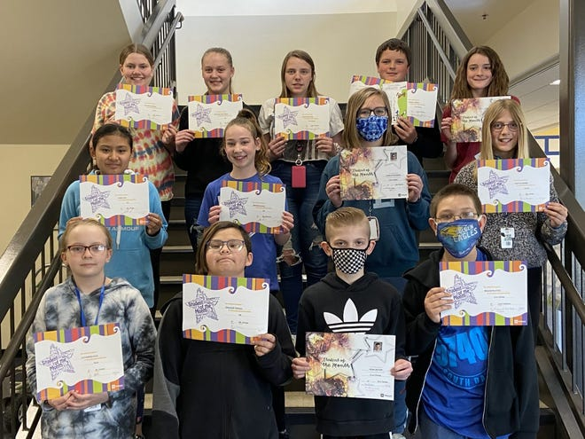 Simmons Middle School sixth-graders who are April students of the month at are, back row, from left, Cadynce German, Addyson Pettigrew, Augustina Hieb, Mason Spieker, Brianna Fischer, middle row, Ivory Poe, Brynn Powell, Caralyn Sundberg, Caitlin Moore, front row, Catherine Kolb, Spencer Twiggs, Noah Retzer, Beauwyn Estes, and, not  pictured, Kinlyn Hemmestad and Perry Sumpter.