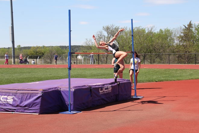 One week after taking up the event, Centralia sophomore Raegan Becker set the school record in the high jump with a leap of 5 feet, 4 inches at last Thursday's Sabetha Invitational.