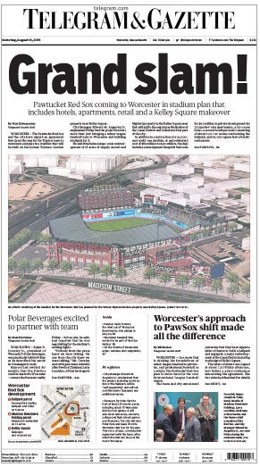 The front page of the T&G on Aug. 18, 2018, the day after it was announced that the team would be moving from Pawtucket to Worcester