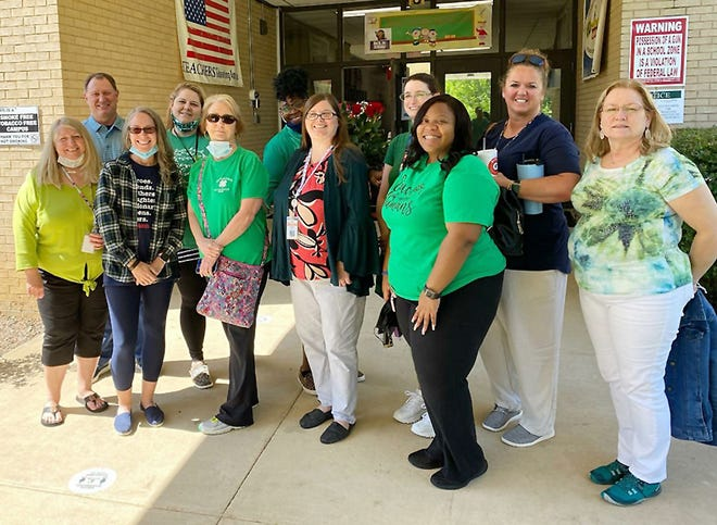 These are among the Gadsden City Schools teachers and teacher aides who received a gift card for a free lunch from football star Dre Kirkpatrick in recognition of Teacher Appreciation Week.