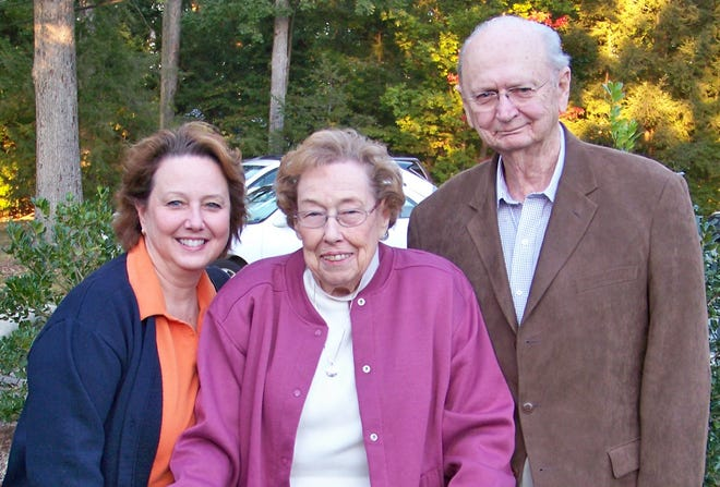 Mary Jo Abernethy (left) and her parents, Nell Abernethy (center) and Paul Abernethy (right), have all served in the medical field in Alamance County. The family is seen here in 2008.