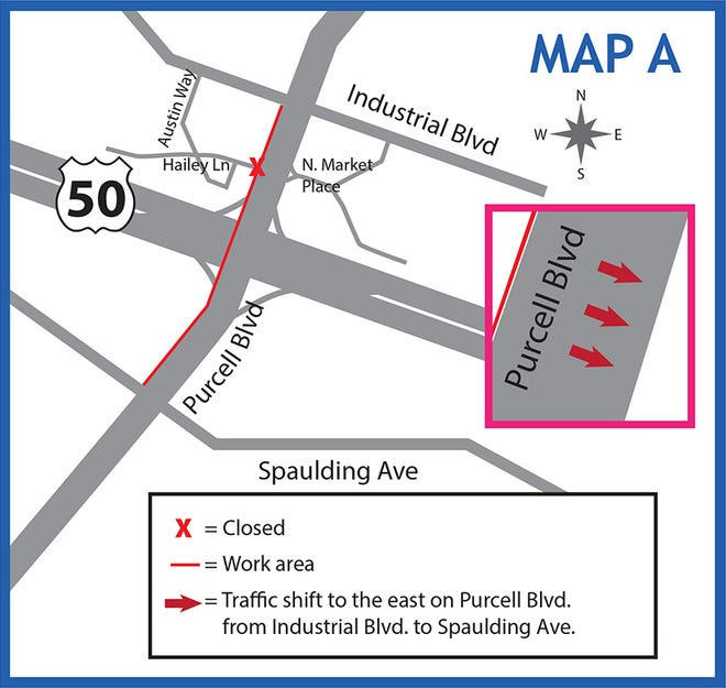 Traffic will be shifted to the east on Purcell Boulevard as the U.S. Highway 50 and Purcelll construction continues.