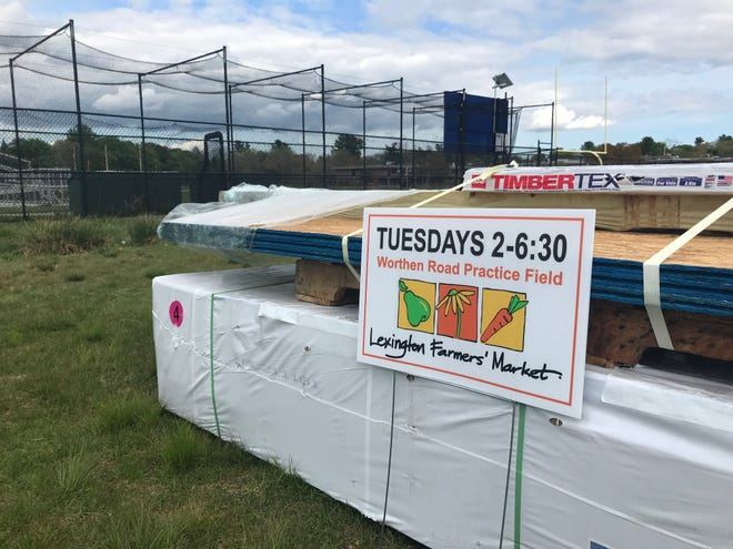 Materials for the Farmers' Market are already in place at the Worthen Practice Field. The market will open on Tuesday, June 1 for the 2021 season.