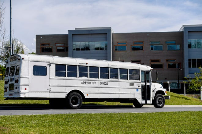 An Asheville City Schools bus parked at Asheville Middle School May 10, 2021.