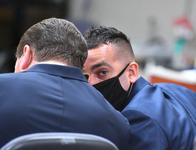 Former deputy Yousef Hafza in court Tuesday, May 11, 2021, during the first day of his 2nd degree murder trial in Judge Jeffrey Mahl's courtroom at the Moore Justice Center in Viera.