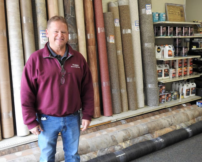 Bill Potter took over Fisher Decorating Center in 2015. The business is celebrating its 75th anniversary this year. It sells a large variety of home improvements projects, including paint, wallpaper, flooring and carpeting. Potter said carpet remnants are his biggest sellers and can be found all over the shop on Main Street.