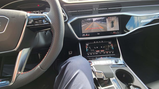 With twin touch screens for infotainment and climate, the 2021 Audi RS6 Avant gets tight for console space.