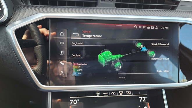 If one likes, the driver can monitor the status of the nuclear power plant under the hood of the 2021 Audi RS6 Avant.