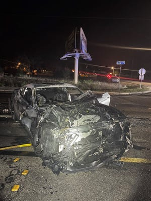 The driver of a car involved in a fiery crash on Lee Boulevard Monday night is being sought by the Florida Highway Patrol after leaving the scene on foot.