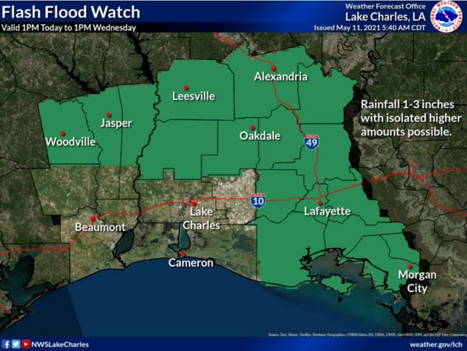 A flash flood watch is in effect for Lafayette Parish and Acadiana as 1-3 inches of rain is expected through Wednesday, May 12, 2021.