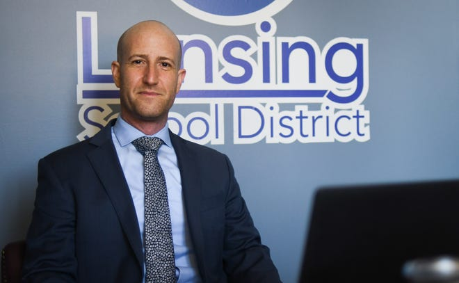 Lansing School District Superintendent Ben Shuldiner poses for a portrait Tuesday, May 11, 2021, prior to a meeting with executive members of the Lansing Board of Education at the Shirley M. Rogers Administration Building in Lansing.