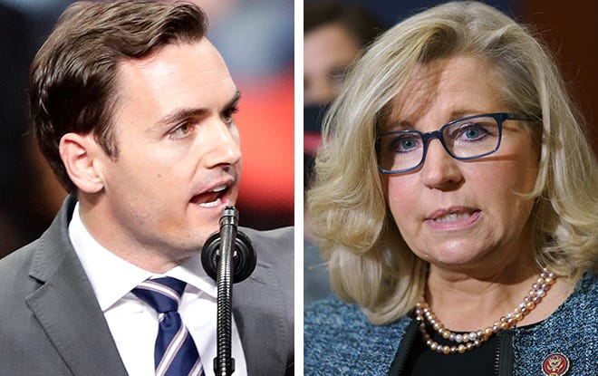 Rep. Mike Gallagher of Wisconsin, left, and Rep. Liz Cheney of Wyoming.