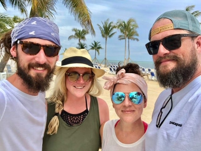 Nicolette Oberst, second from right, is the owner of Pops on the Lake. Lexi Niedfeldt, second from left, is Oberst's creative sidekick in the venture. Also pictured from left, Jef Niedfeldt and Jake Oberst.