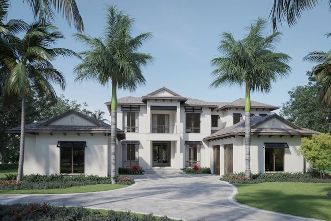 The front view of Diamond Custom Homes' new estate at 1829 Plumbago Way in Grey Oaks, which was recently sold prior to construction.