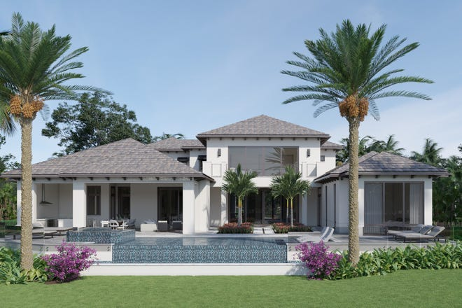 A rear view of Diamond Custom Homes' new estate at 1829 Plumbago Way in Grey Oaks.