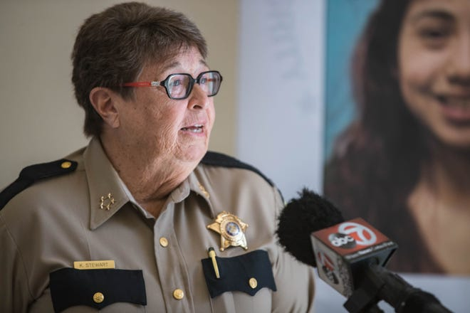 Doña Ana County Sheriff Kim Stewart, pictured here May 11, 2021, at a news conference, collected mental health data in New York City in the wake of the Sept. 11 attacks.