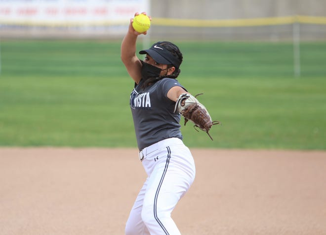 Piedra Vista's Emma Lovato, seen here during practice on Monday, May 10, 2021, at Farmington Sports Complex, logged back-to-back complete-game victories over Aztec and Cleveland.