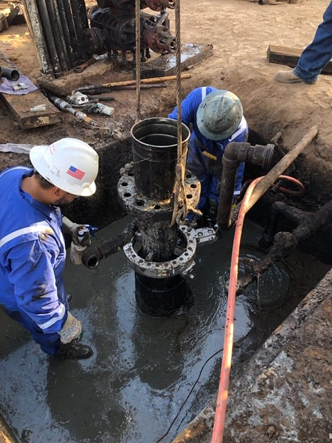 Workers plug and abandon oil wells associated with the Rincon Island Limited Partnership bankruptcy.