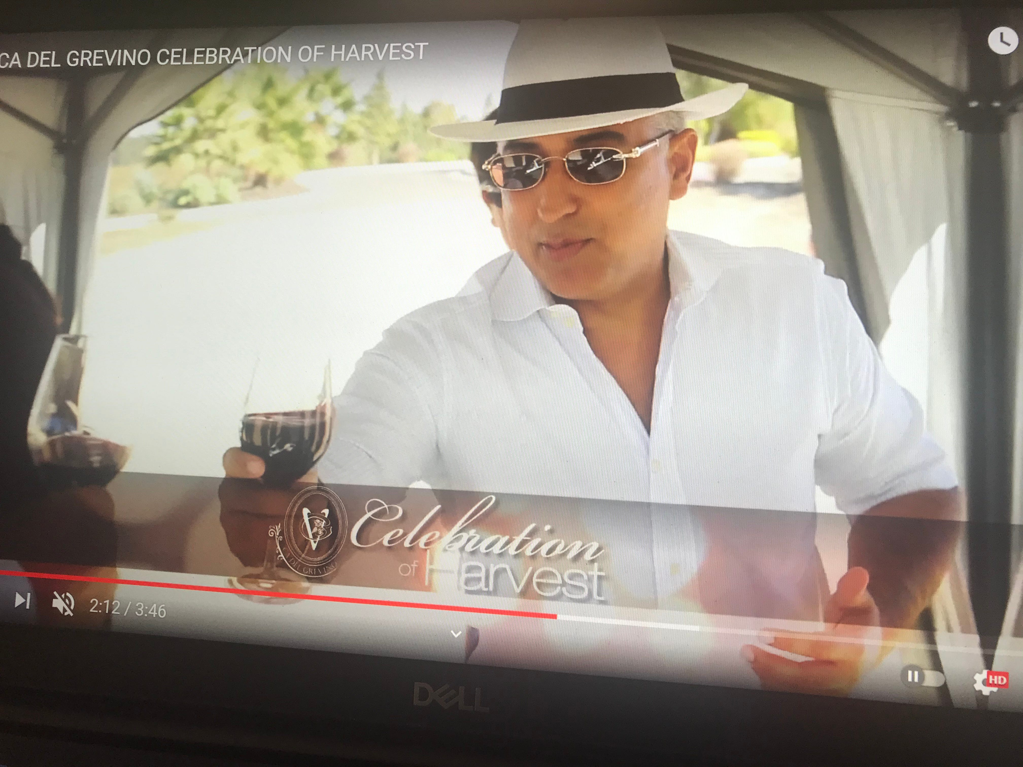 In this screenshot, Randeep Grewal appears in a promotional video for his winery, Ca' Del Grevino.